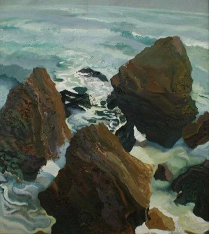 M. Vorokhta Three Stones', 1997, oil on canvas, 75x80