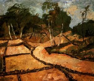 Dunes In Palanga', 1986, oil on fibreboard, 70x80