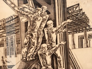 O. Martynets 'Workmen On Construction Of High-Rises', 1978, etching