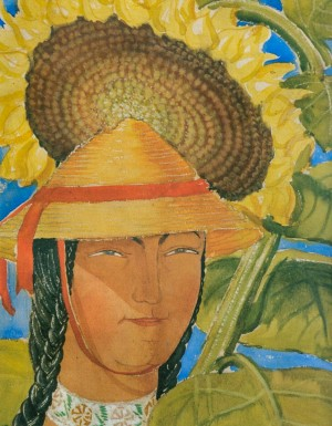 A Hutsul girl with sunflower, 1935