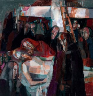 Golgotha (triptych), Lamentations (Right Part), 2000, oil on canvas, 70x70