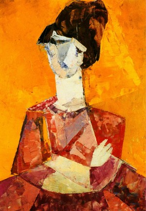 Woman On A Yellow Background', 1964, oil on board, 45x32