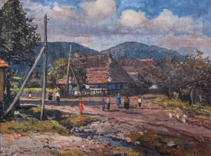 Street In Vorochevo Village, 1957, oil on canvas, 86x65