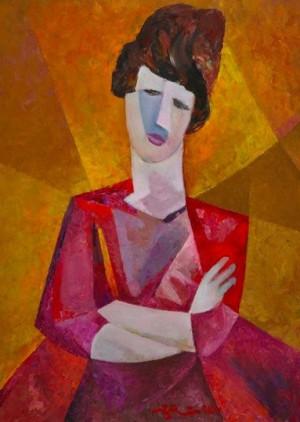 'Жінка на жовтому фоні', 2008, 79.5х60