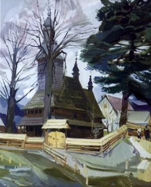 Деревяна церква у с. Колочава, 2008, п.о., 85х70
