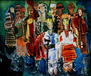 Hutsul Wedding, from the photo archive of Y. Nebesnyk, 1993, oil on canvas, 100x120