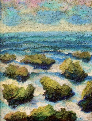M. Vorokhta Nine Stones In The Black Sea', 2007, author's technique on plywood, 75x56
