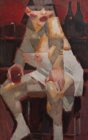 V. Kulikov 'Fond Of Drinking', 1997, oil on canvas