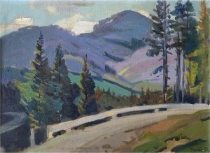 Road In The Mountains, the 1960s, oil on canvas, 42x57