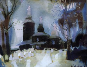Деревяна церква у с. Гунковці (Словаччина), 1998, п.о., 39х49