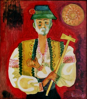 Hutsul Self-portrait, from the photo archive of Y. Nebesnyk, 1994, oil on canvas, 90x80