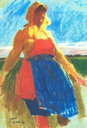 Woman In yYllow Scarf, 1967, pastel on paper, 41х30