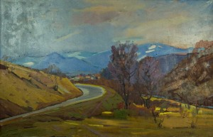 Road In The Mountains, the 1960s, oil on canvas, 79x119,5
