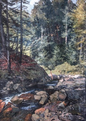 Mountain River In Lumshory Village, 1951, oil on canvas, 140x101