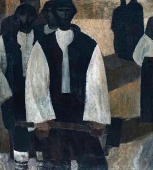 Hutsuls-bricklayers, 1970, oil on canvas, 63x50