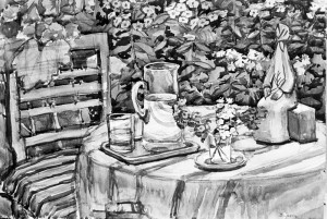 Still Life With Ceramics, 1974, watercolour on paper