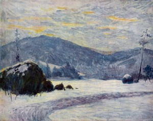Winter Twilight,1947, oil on plywood