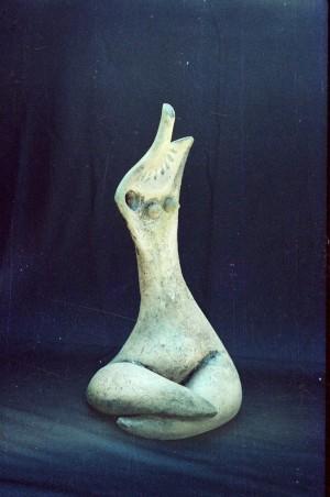 White Figure1993.chamotte, moulding, ceramic glaze.25х24х60