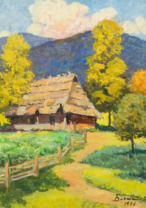 Hut In The Mountains, 1976, oil on cardboard, 70x50
