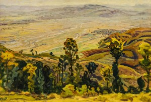 View of Dulovo village,1960, cardboard, oil, 60х85