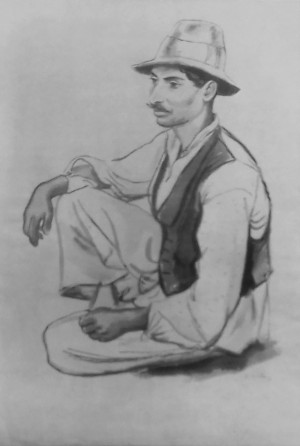 The Sitting Mustachioed Gypsy, 1937, ink on paper, 55x37,2