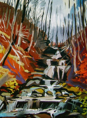 Waterfall Shypit, 2011, gouache, tempera on cardboard, 75х50