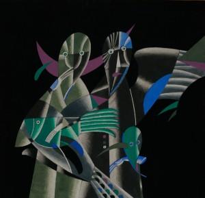 Жінки і риби, пап.гуаш, 41x43