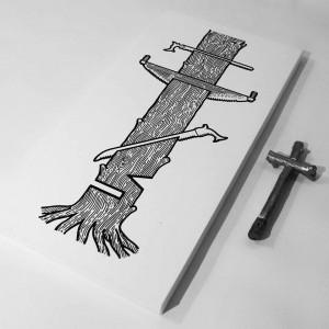 Чортів нема коли ріжуть дерева, бо пила і дерево роблять хрест, 2014, пап. інд. туш, 20х40