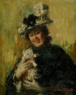 Woman With A Cat, oil on canvas, 50x40