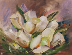 'White Tulips', 2017, oil on canvas