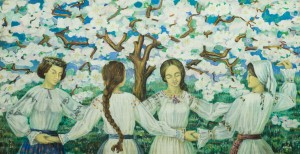 Spring In The Carpathians, 1974, tempera on cardboard, 85x158