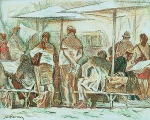 Автобусна зупинка, 1992, пап.паст., 44х65