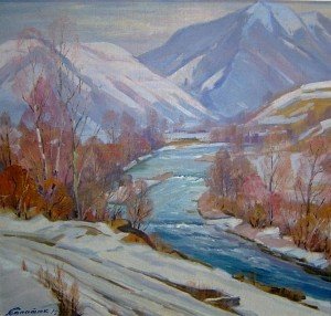 In The Mountains, oil on canvas, 88х83