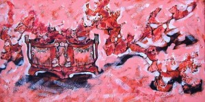 Spring. Cherry blossom, 2005, oil on canvas, acrylic, 40х79