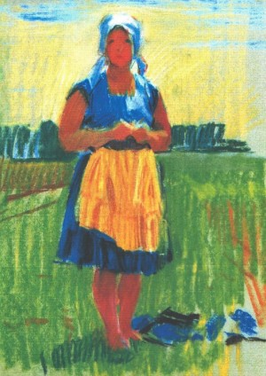 Woman In The Yellow Apron, 1967, pastel on paper,  41х31
