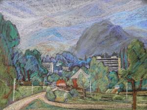 Місто в горах, 1983, пап. паст., 36х40