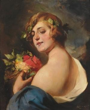 Портрет молодої Вакханки з квітами на фоні сільської місцевості