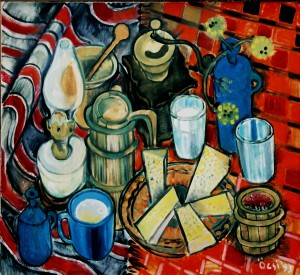 Hutsul Still Life, from the photo archive of Y. Nebesnyk, 1993, oil on canvas, 74x81