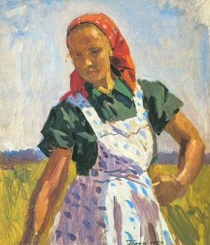 A Woman In The Field, 1957, oil on cardboard, 55,5х49