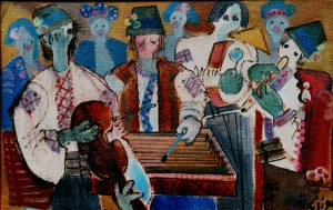 Hutsul Musicians, from the photo archive of Y. Nebesnyk, 1994, oil on canvas, 63x98