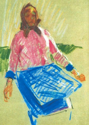 Woman In Pink, 1967, pastel on paper, 42х29,5