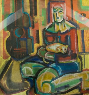 Lady With A Dog, 1960s, mixed technique on cardboard, 98х92,5