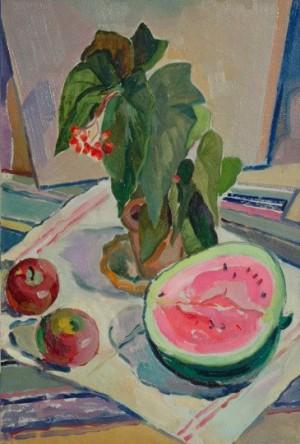 'Квітка і гарбуз', 1958, 52.7х37.6