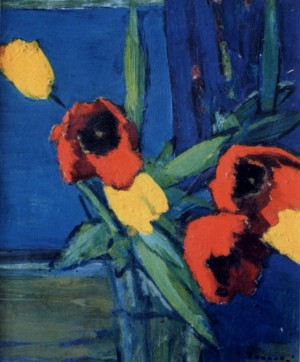 Still Life. Tulips, 1980, oil on cardboard, 43х36,5