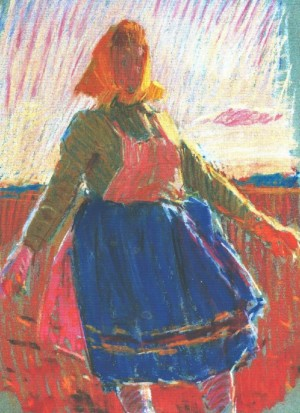 Woman In Red, 1967, pastel on paper, 42х32