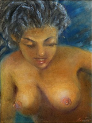 A Woman With Naked Bust, pastel on cardboard, 65x48