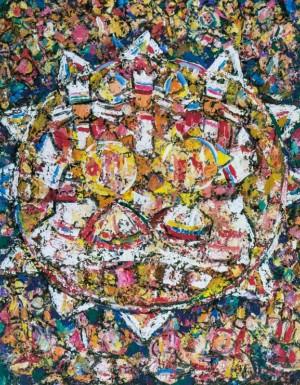 Carol Singers, 2010, tempera on canvas,100х80