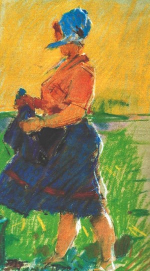 Woman In tTe Sun, 1970, pastel on paper, 39х41