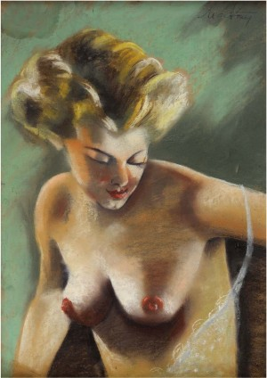 A Woman With Naked Bust, pastel on cardboard, 68x48