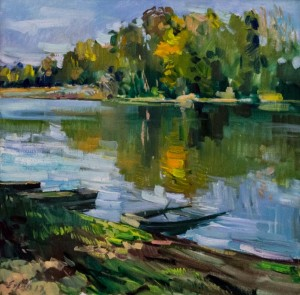 F. Erfan. Morning On The Tisza River, 2017